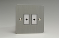 Varilight Eclique 2 Brushed Steel 2-Gang 1-Way Remote Control/Touch Master LED Dimmer 2 x 0-100W